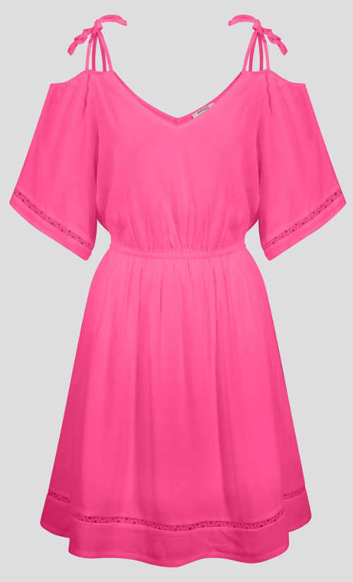 Jednobarevné růžové šaty se spadlými rameny