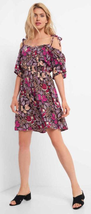 Květované letní šaty se spadlými rukávy
