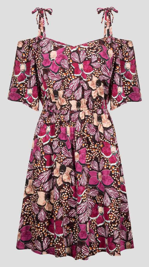Letní květované šaty se závazovacími ramínky