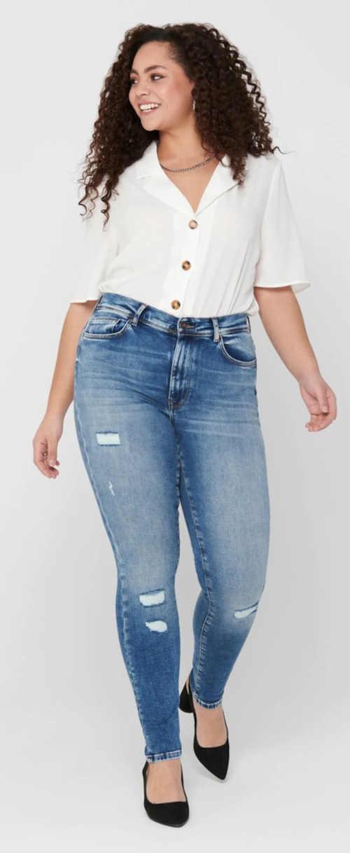 Modré elastické džíny pro dámy s křivkami