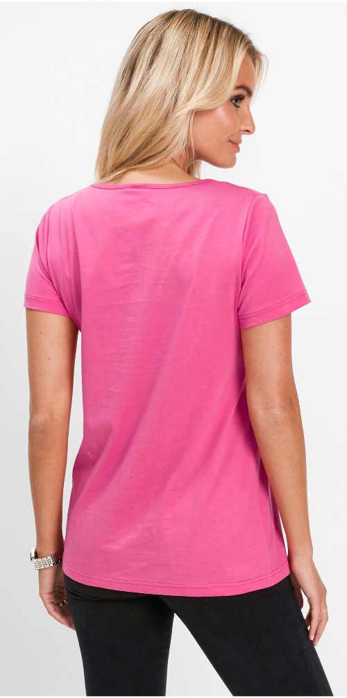 Růžové dámské bavlněné tričko s krátkým rukávem