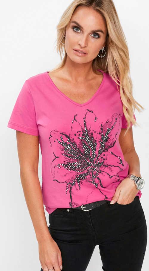 Růžové dámské tričko s potiskem a kamínky