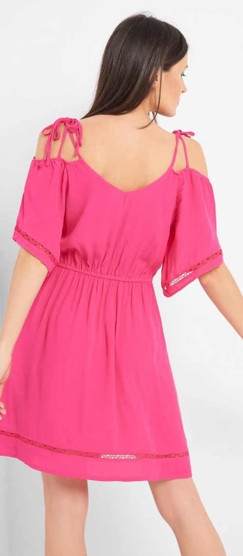 Růžové letní šaty na tenká ramínka