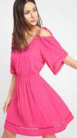 Růžové letní šaty Orsay s odhalenými rameny