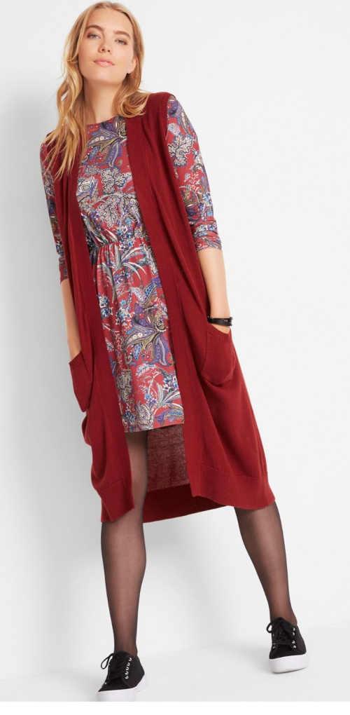 Dámská dlouhá pletená vesta s praktickými kapsami