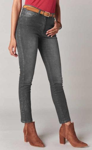 Dámské džíny s interesantní výšivkou v šedém provedení