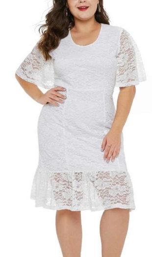 Dámské krajkové šaty s krátkým rukávem v bílém provedení