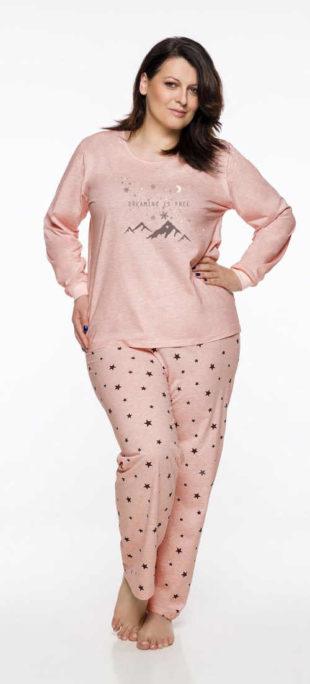 Dámské pyžamo volnějšího střihu v růžovém či světle oranžovém designu