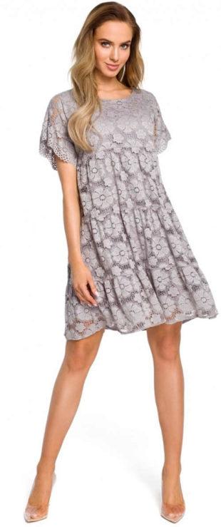 Elegantní krajkové šaty s krátkým rukávem v módních barvách