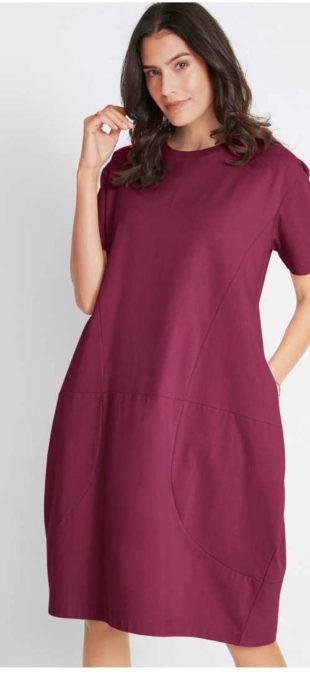 Fialové oversize šaty v pohodlném střihu s kapsami