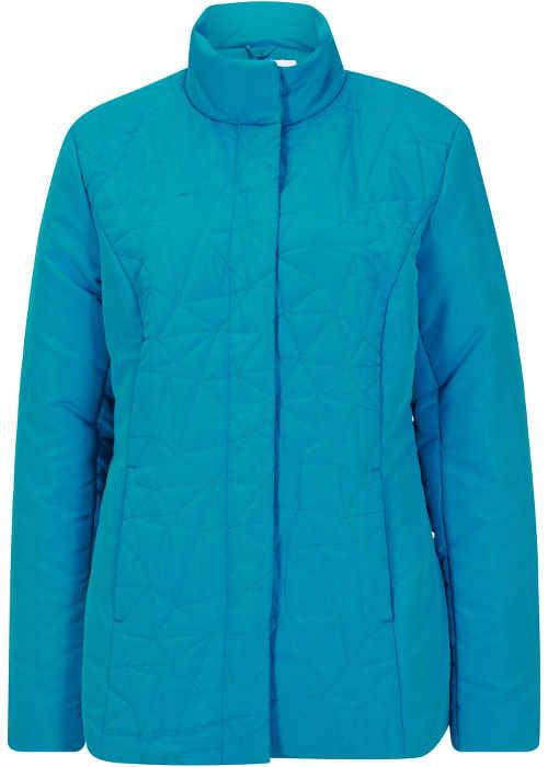 Vatovaná zimní bunda s krásným prošíváním v tyrkysové barvě