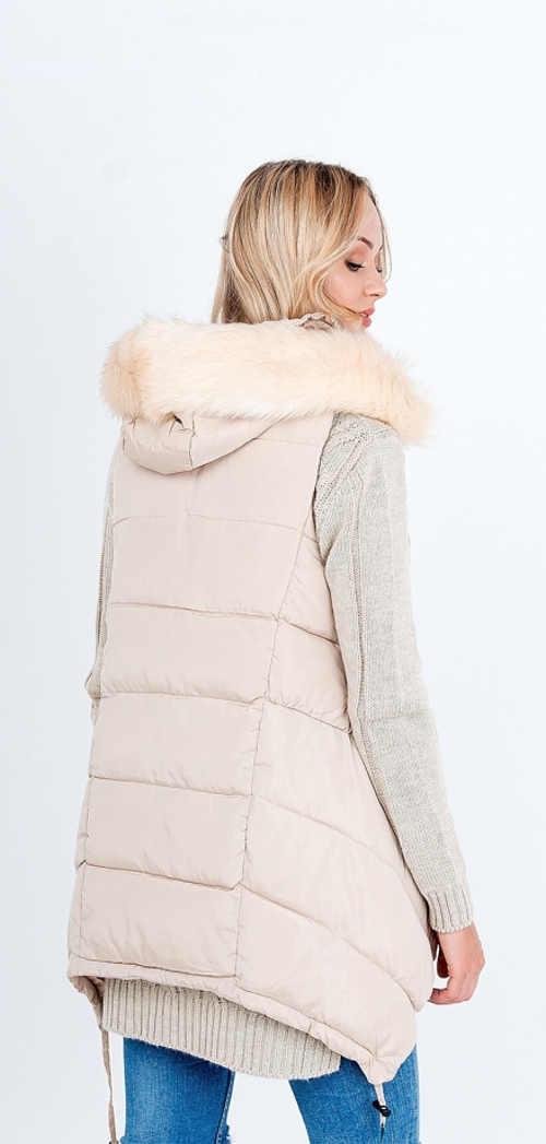 béžová prošívaná vesta v prodloužené délce