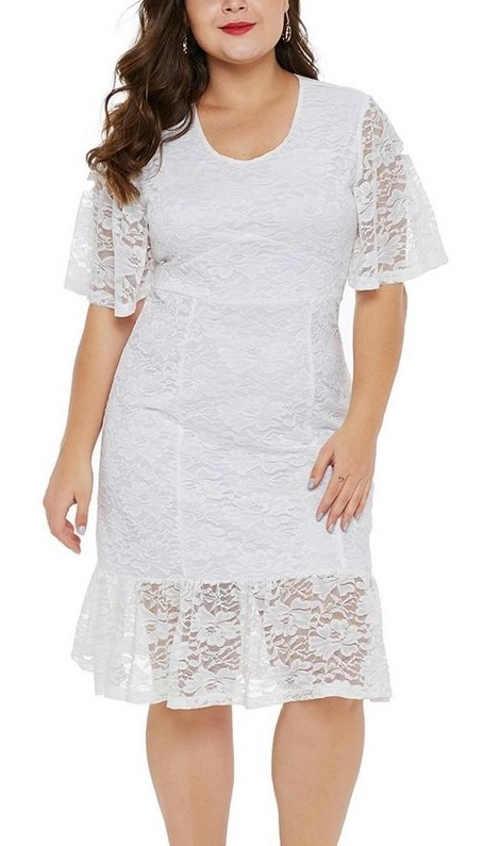 bílé dámské šaty krajkové ke kolenům