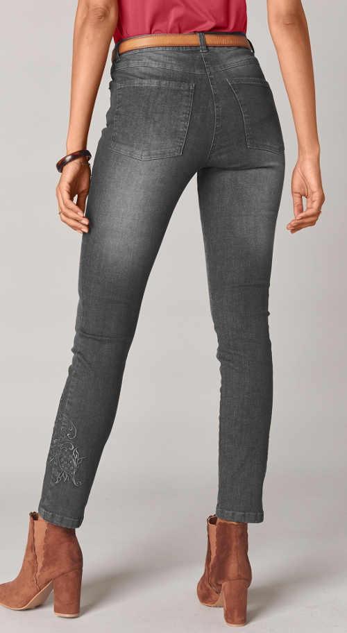 dámské šedé džíny v moderní délce