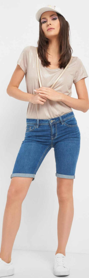 Džínové kraťasy s délkou nad kolena