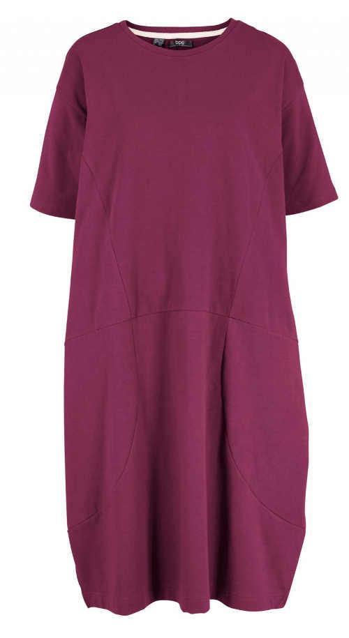 fialové dámské šaty s hlubšími kapsami