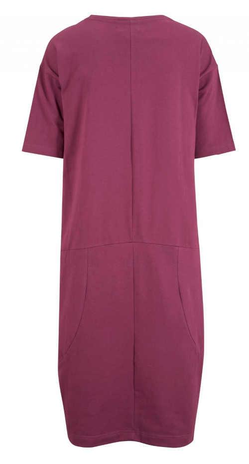 fialové dámské šaty s kapsami a krátkým rukávem