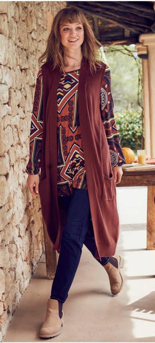 moderní a praktická dlouhá pletená vesta