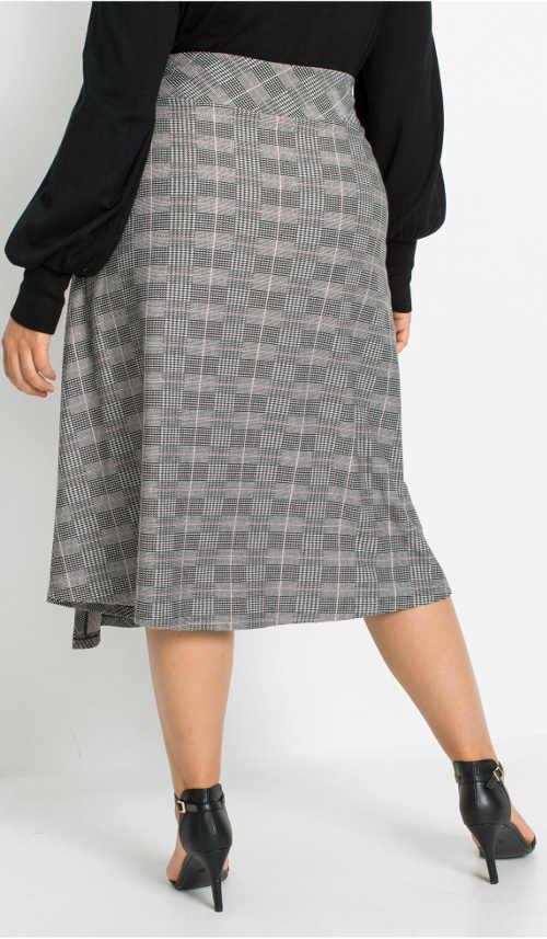 Šedá károvaná dámská sukně pro širší boky