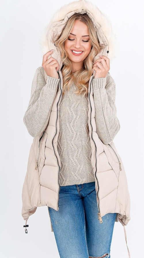 stylová vesta s integrovanou kapucí a kožíškem