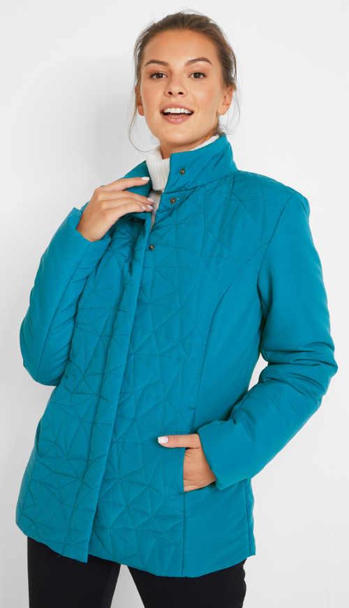 tyrkysová prošívaná dámská bunda