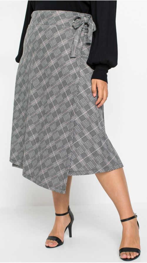 Zavinovací šedá kostkovaná sukně pro plnoštíhlé