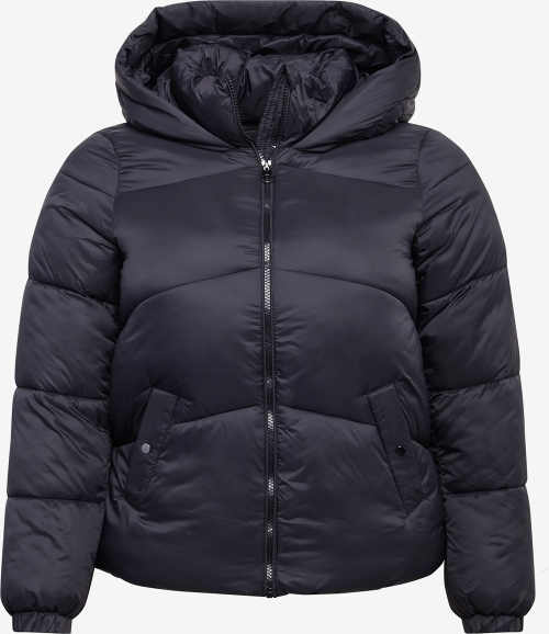 Černá dámská prošívaná zimní bunda s velkou kapucí