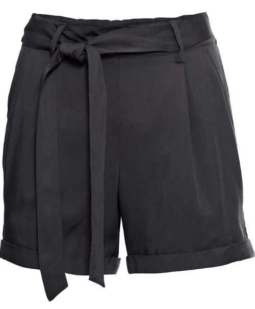 Černé dámské kraťasy se zavazovacím páskem