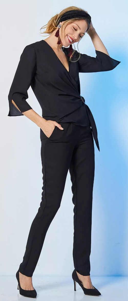 Elegantní a přitom pohodlné černé dámské kalhoty