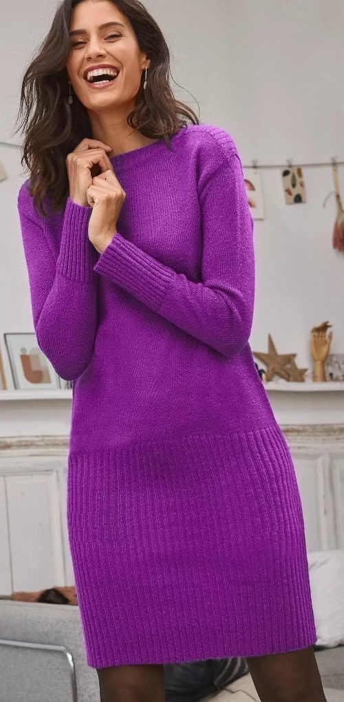 Fialové pletené svetrové dámské šaty