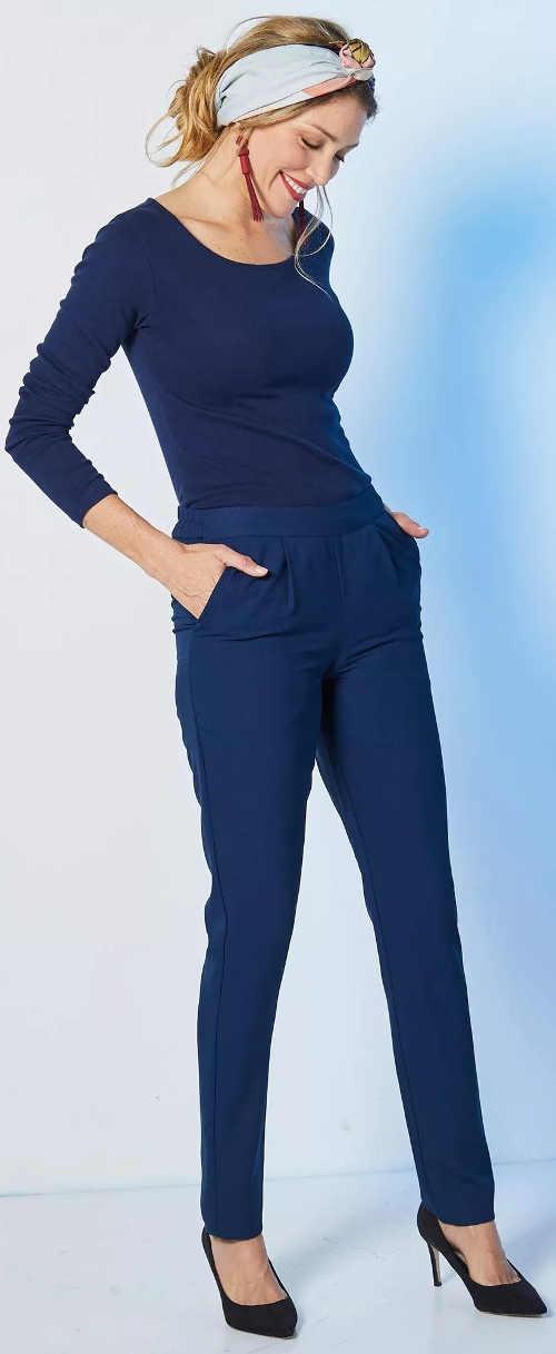 Jednobarevné modré dámské kalhoty