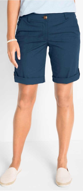 Jednobarevné modré strečové bermudy s délkou nad kolena