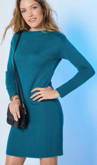 Jednobarevné zimní svetrové dámské šaty levně