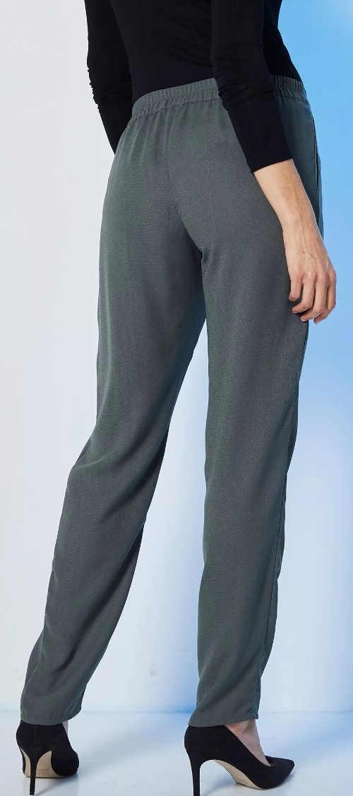 Šedé dámské kalhoty s pružným pasem