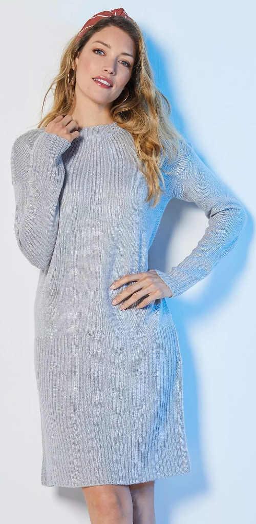 Teplé šedé svetrové dámské šaty na zimu