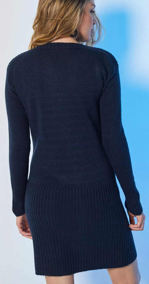 Tmavě modré dámské zimní šaty z pleteného úpletu