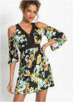 Moderní šaty s květinovým vzorem v rafinovaném střihu