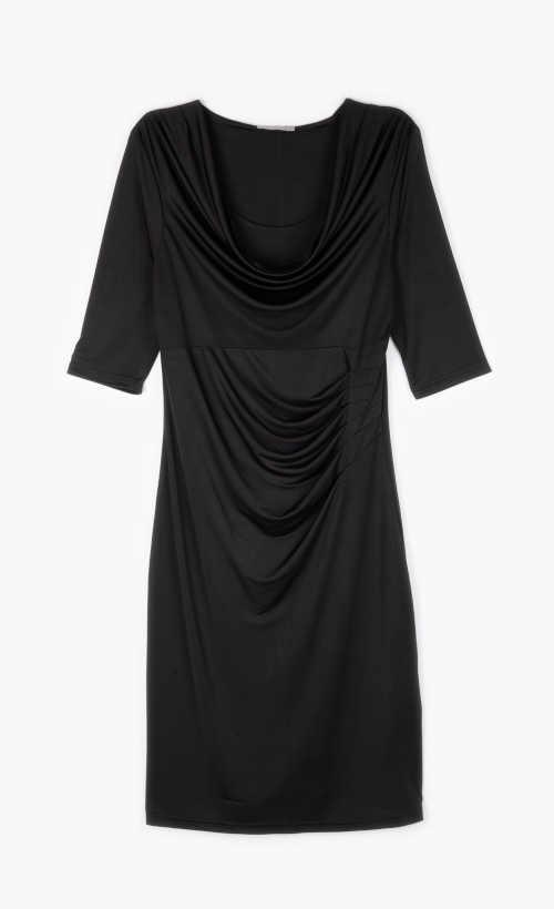 dámské šaty černé s řasením vpředu