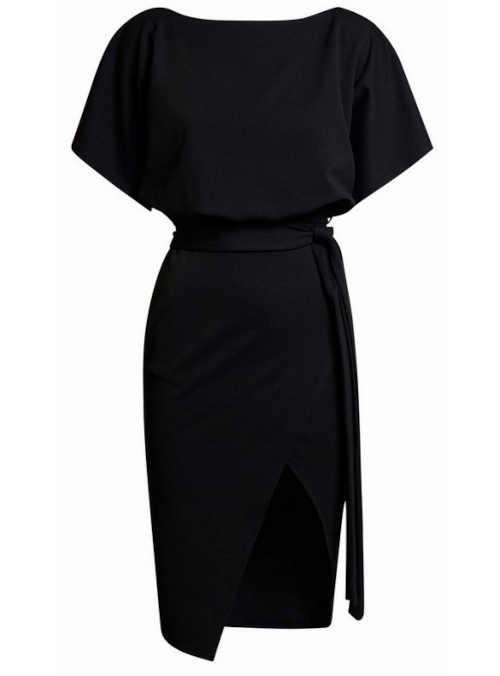Dámské elegantní šaty s rozparkem vpředu v černém provedení