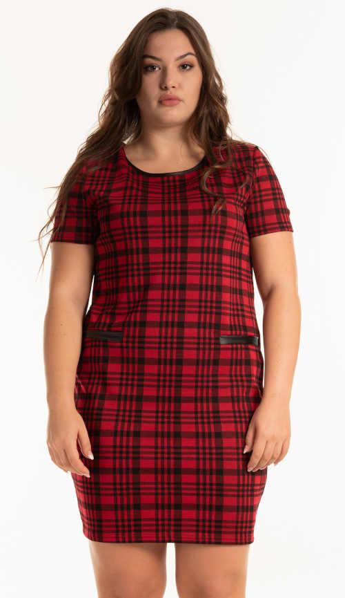 šaty kostkované černo-červené
