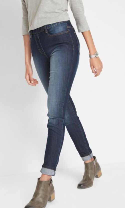 Komfortní dámské džínové legíny řešené pružným pasem