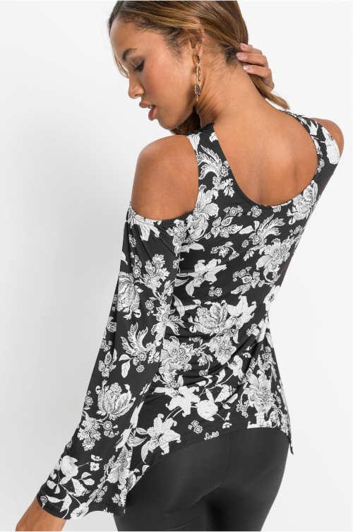 Květinová asymetrická halenka s průstřihy na ramenou