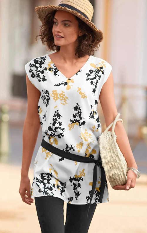 Moderní dámská tunika bez rukávů v černo-bílé kombinaci