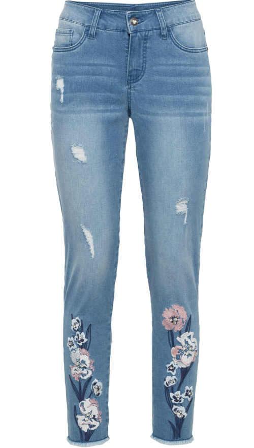 Stylové dámské skinny džíny s květinovou výšivkou