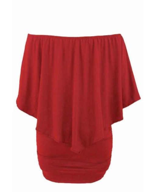 dámské červené šaty v působivém střihu