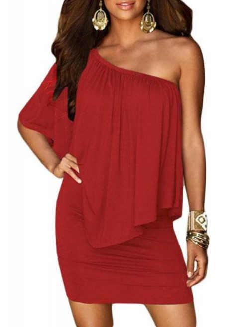 vrstvené červené krátké šaty