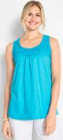 Zářivě modrý bavlněný dámský top s krajkou přes prsa