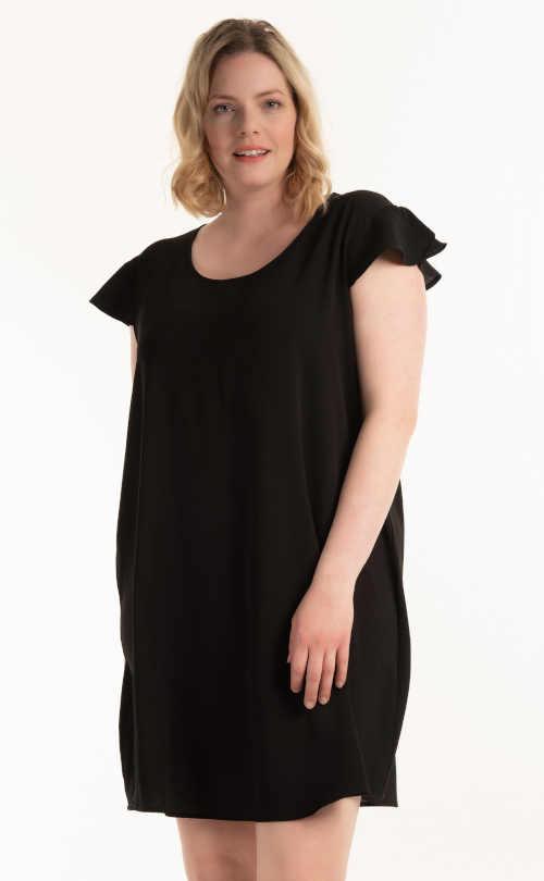 Dámské moderní mini šaty v rovném střihu s volánovým rukávem