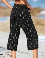 Moderní široké kalhoty v 3/4 délce se zlatým potiskem