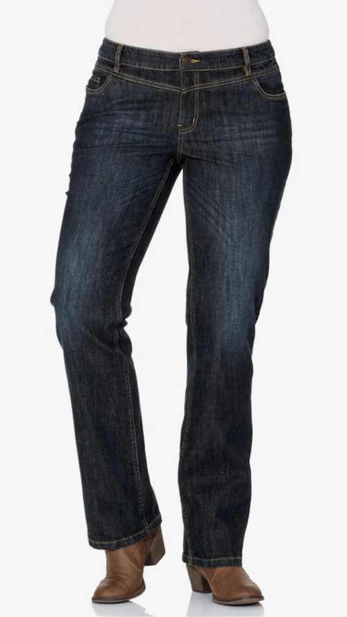 Tmavě modré kvalitní džíny v moderním sepraném vzhledu